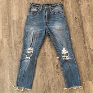 Levis 501 skinny distressed jeans